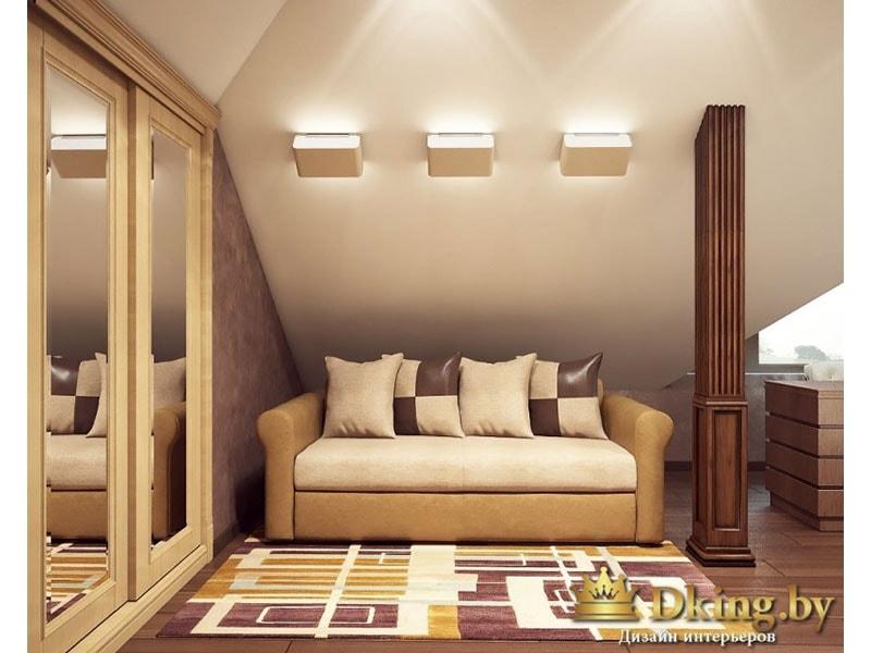 уютный кабинет: небольшой диван, зеркальный шкаф