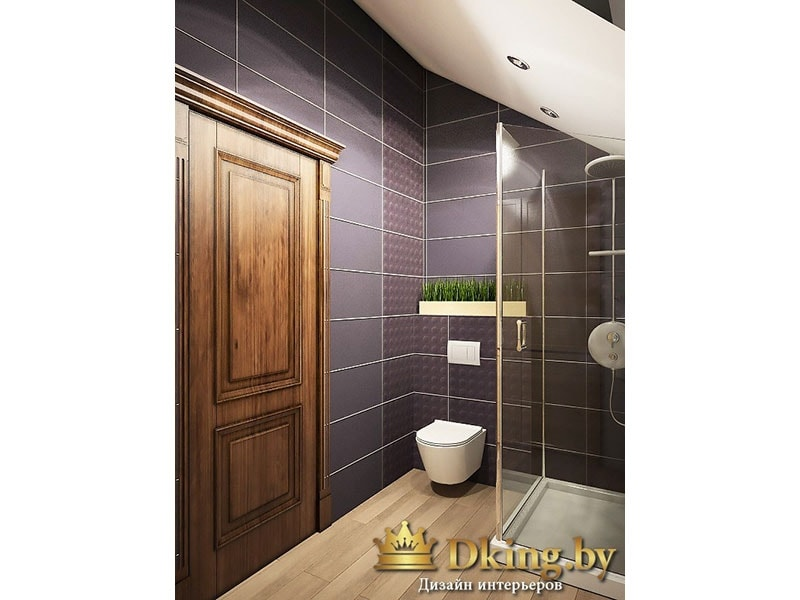 черная плитка в ванной. деревянные внушительные двери. пол под дерево. унитаз подвесной