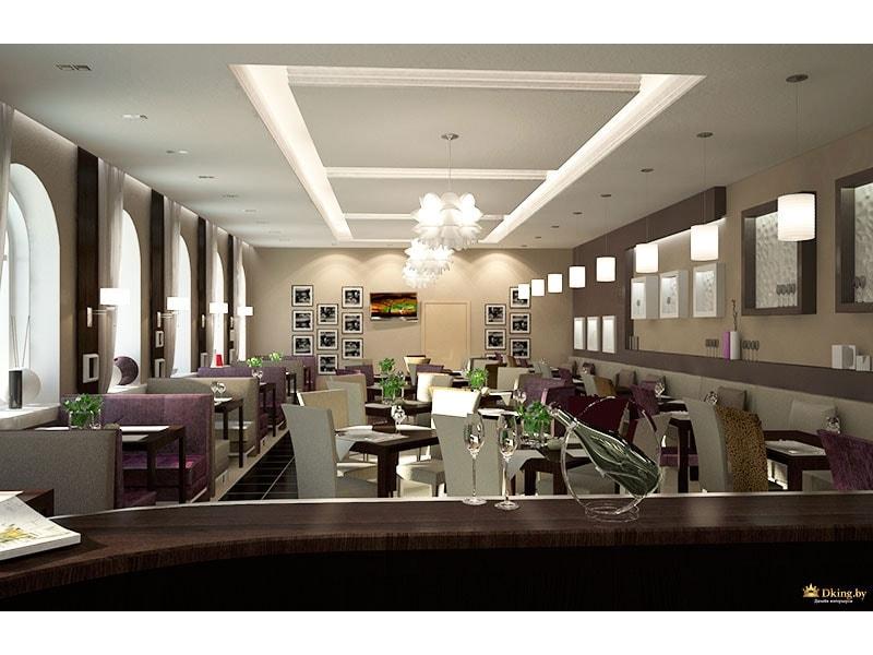 Общий вид на зал ресторана