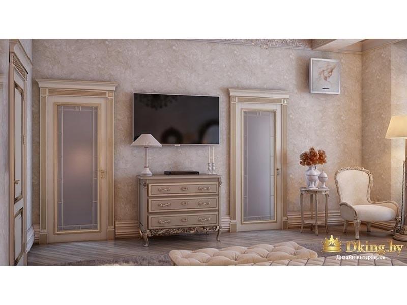 Комната с телевизорам и двумя дверями
