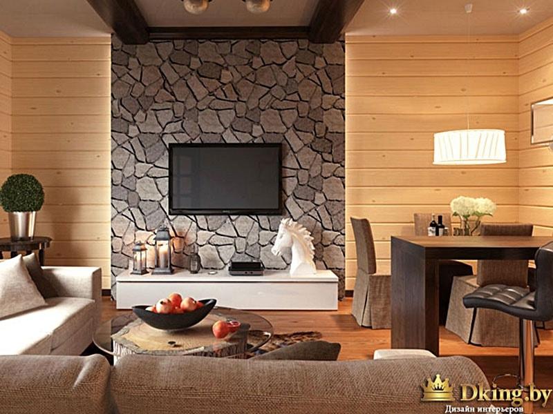 Гостиная с деревом и камнем