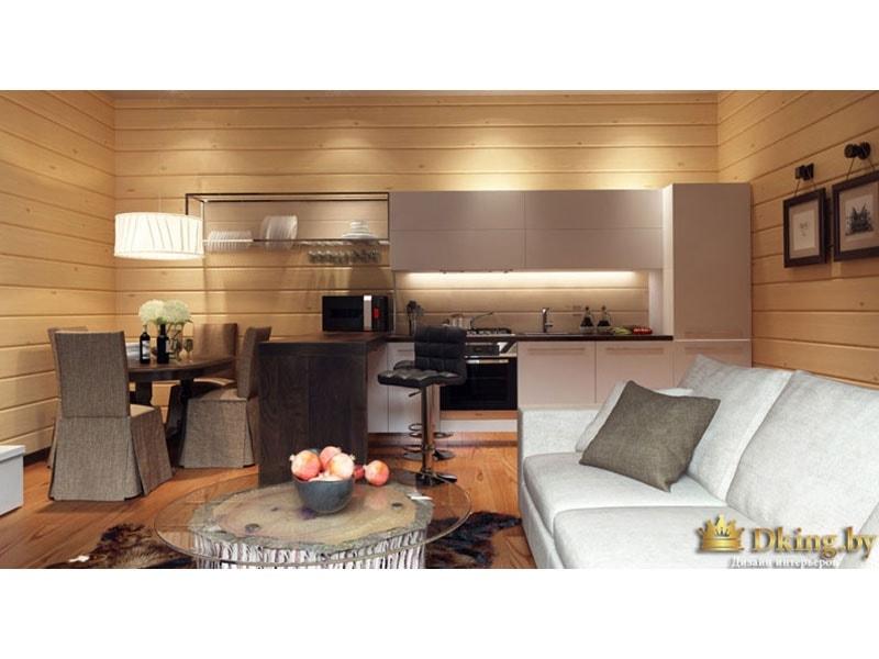 Просторная гостиная с деревянными элементами
