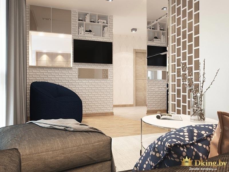 Стена в стиле лофт с телевизором