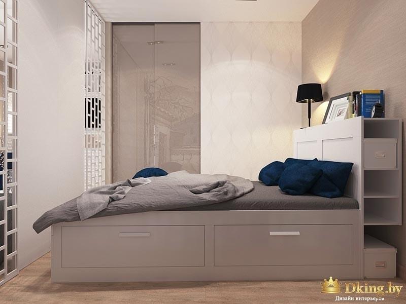 Спальня с полками в кровати