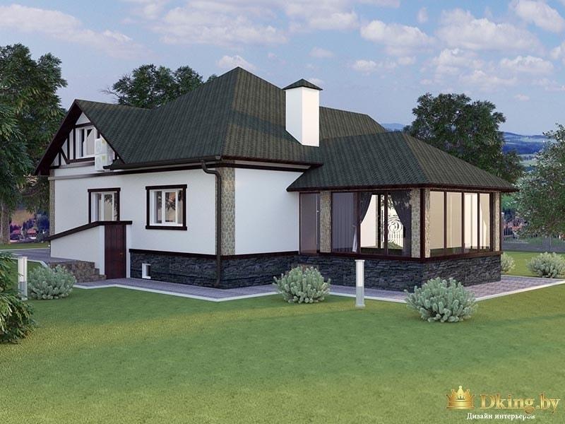 Загородный дом с зеленой крышей