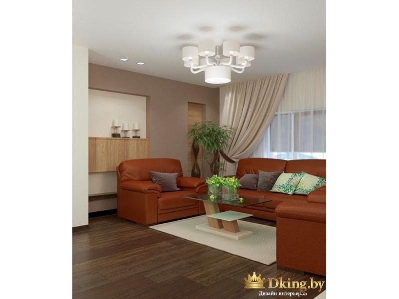 Коричневый кожаный диван и стодик