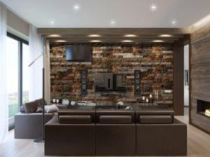 Гостиная со стеной под камень