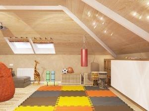 Детская комната с угловой крышей