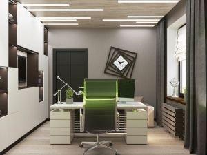 Дизайн кабинета с дизайнерскими часами