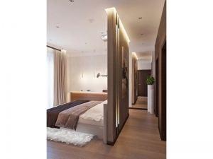 Спальня с подсвечевающейся перегродкой