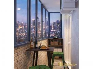 Балкон с плиткой под кирпич