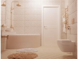 Светлая ванная с круглыми ковриками