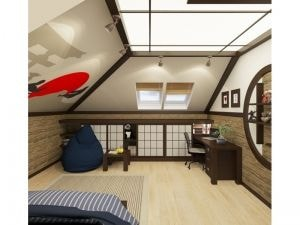 Светлая комната с пандой на полке