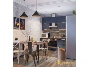 Открытая кухня в синем цвете