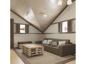 Скошенный потолок в гостиной