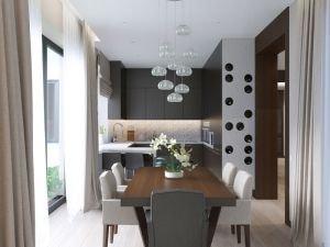 Интерьер кухни с большим столом