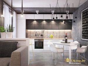 однокомнатная квартира: необычные светильники-паутина, серая стена, грифельная доска, геометрическая кухня белая в сочетании с шоколадным
