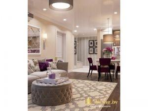 гостиная: журнальный стол из экокожи, глянцевый натяжной потолок