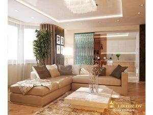 большой угловой диван в гостиной, пол деревянный, потолок многоуровненвый
