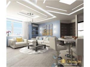 гостиная-столовая: серый пол и стены, светло-серый диван расположен возле голубой стены, по центру - контрастный журнальный столик