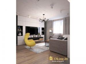 стена с телевизором полностью функциональна: она состоит из закрытых белых ящиков без ручек. под телевизором -консоль. в качестве акцента в комнате - желтое дизайнерское кресло