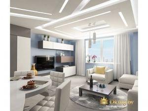потолок в гостиной: вместо традиционныех светильников - встреонная светодиодная подсветка в виде широкий линий.