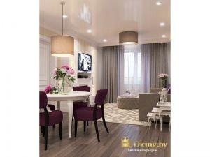 гостиная-столовая: контрастные стулья, темный пол, глянцевый потолок, шторы в пол