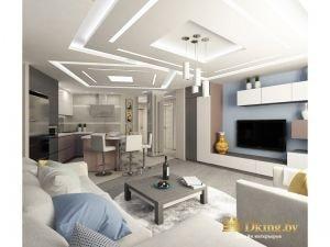 большая гостиная-столовая: на голубой стене - белый модуль без ручек и телевизор, на полу - небольшой круглый ковер. Потолок необычный геометрической конструкции