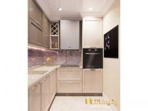 кухня: шкафчик для вина, светлые фасады и темная встроенная техника, на полу белая плитка