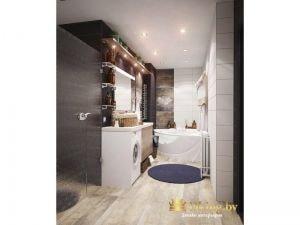 совмещенный санузел: серый, белый и коричневый цвета плитки, белая сантехника и акцентный фиолетовый коврик