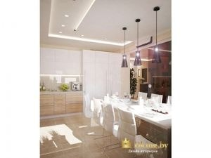 кухня: потолок со встроенной подсветкой, дополнительное освещение над обеденной группой