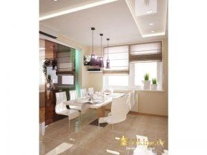 Современная обеденная группа: белые стулья, белый стол, римские шторы на окнах