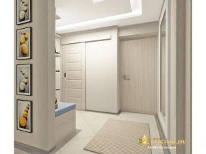 светлая прихожая цвета беэево-серый выбеленыый. на полу плитка