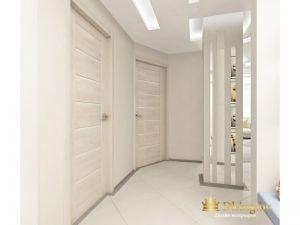 светлый пол, светлые стены и контрастный серый плинтус