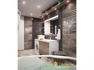 сочетание серой однотонной и коричневой плитки, повторяющей рисунок мрамора. сантехника белая, ванна угловая