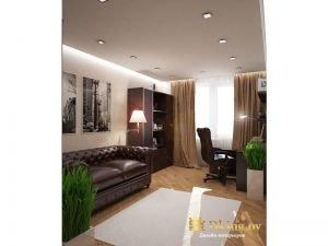 кабинет: кожаный диван цвета темный шоколад, кожаное компьюетрное кресло. Светлые стены, деревянный пол, темная мебель