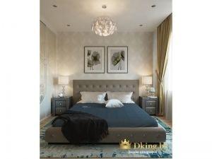 кожаная кровать в спальне: на потолке споты и люстра, спальня выдержана в серо-бежевых тонах, акцентный цвет - синий