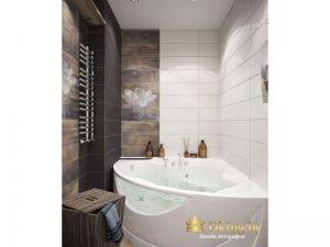 угловая акриловая ванна. сочетание белой плитки и мраморной коричневой. полотенцесушитель хромированный лесенка