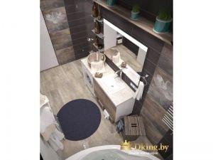 рациональное использование зоны с зеркалом и умыальником: умывальник вложен в столешницу, внизу расположены выдвижные ящики и стиральная машина.