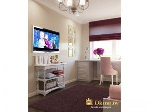 детская для девочки: рабочий стул нежно-розового цвета, телевизор на стене и оригинальная белая консоль под телевизором