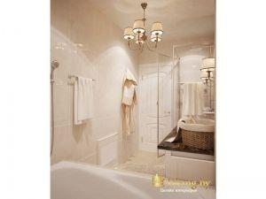 бежевые стены в ванной, белая дверь и классические светильники