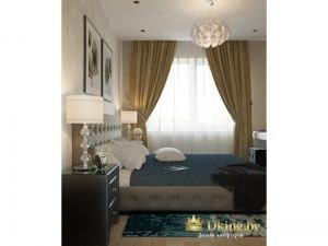 окно в спальне задрапировано шторами в пол цвета оливы с подхватами. карниз скрытый. акценты - покрывало и прикроватный коврик - глубокого темно-синего цвета