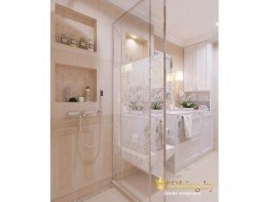 санузел. Душевая зона с раздвижными стеклянными дверями, ниши для хранения косметики, встроенный смеситель. Плитка бежевая с классической раскладкой и узорами