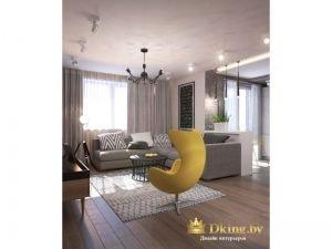 гостиная зона: акцентное желтое дизайнерское кресло на одной ножке, серый угловой диван