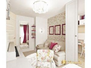 светлая детская для девочки: цветочный принт в качестве акентов: цветочные обои возле дивана, стул и падушки с таким же текстилем