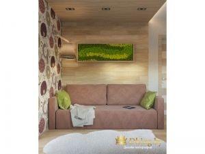 диван в детской дымчатого розового цвета. стена за диваном выложена деревянными панелями. они же переходят на потолок. над диваном встроены споты. правая стена оформлена акцентными обоями с принтом.