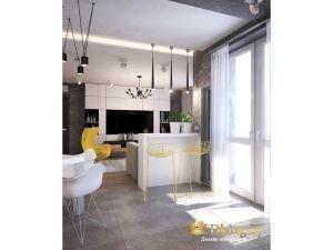 вид на гостиную зону из кухни: барная стойка с желтыми пластиковыми барными стульями, белая система для хранения возле телевизора