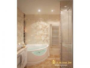 ванная в бежевых тонах: угловая ванна с гидромассажем