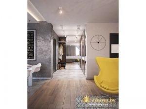 серая стена с грифельной доской, желтое дизайнерское кресло как контрастный акцент, пол комбинированный ламинат и серый керамогранит в зоне прихожей и кухни