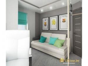 детская для мальчика в серых тонах: дверь темная, акцентная стена возле белого дивана - темная-серая. акцентные подушки ярких зеленого, бирюзового, голубого цветов